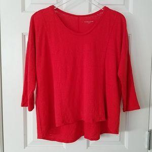 Eileen Fisher Small 100% Linen Red 3/4 Slv Shirt
